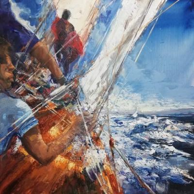 Prima regata olio su tela spatola 100 x 100 2019