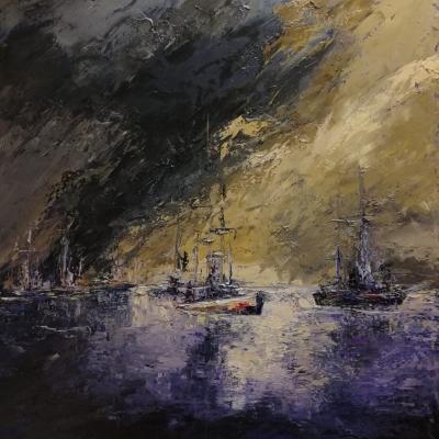 Nuova giornata in mare olio su tela spatola 100 x 100 2019