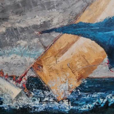 """Nuova imbarcazione olio su tela """"spatola"""" 150x200"""