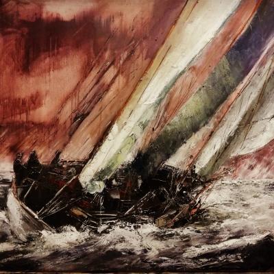 Verso la tempesta olio su tela spatola 100 x 120 2019