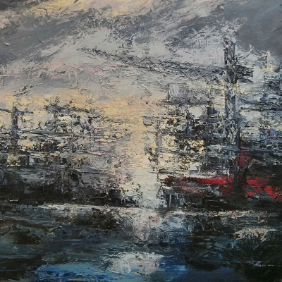 "Cantieri navali olio su tela ""Spatola"" 100x150"