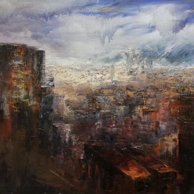 Milano olio su tela spatola 100 x 150  2019