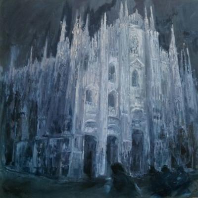 Notturno Piazza Duomo olio su tela spatola 100 x 100 2017