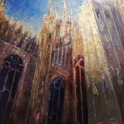 Veduta dal Palazzo Reale olio su tela spatola 120 x 100 2017