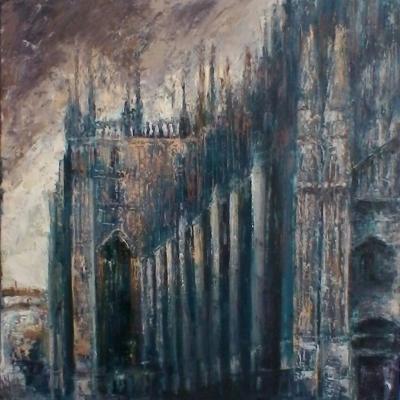 Duomo di Milano olio su tela spatola 100 x 100 2016