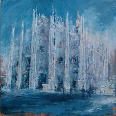 """Duomo di Milano olio su tela """"spatola""""   100x100"""