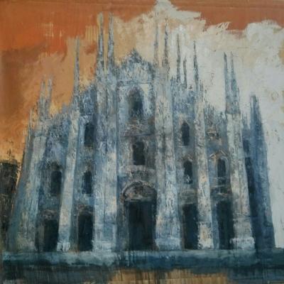 """Milano il Duomo olio su tela """"spatola""""  200x200"""