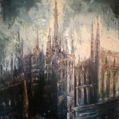 "Dal Palazzo Reale olio su tela ""spatola""  120x100"