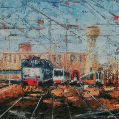 """Stazione di Milano olio su tela """"spatola"""" 150x200"""