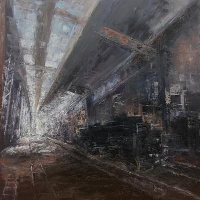 Interno ferroviario olio su tela spatola 100 x 100  2019