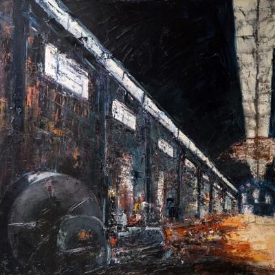 "Interno Isotta Fraschini olio su tela ""spatola""  100x100"