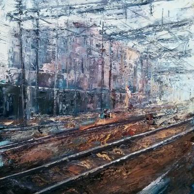 """Stazione di Saronno olio su tela """"spatola""""  100x80"""