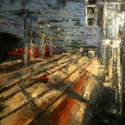 """Stazione di  Mestre olio su tela """"spatola""""  100x80"""
