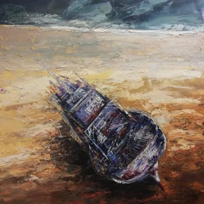 Spiaggiata olio su tela spatola 2018 120 x 100