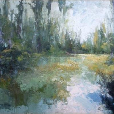 """Il grande giardino di Monet  olio su tela """"spatola""""  100x150"""