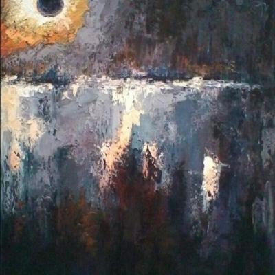 "Eclissi olio su tela ""spatola""  120x100"